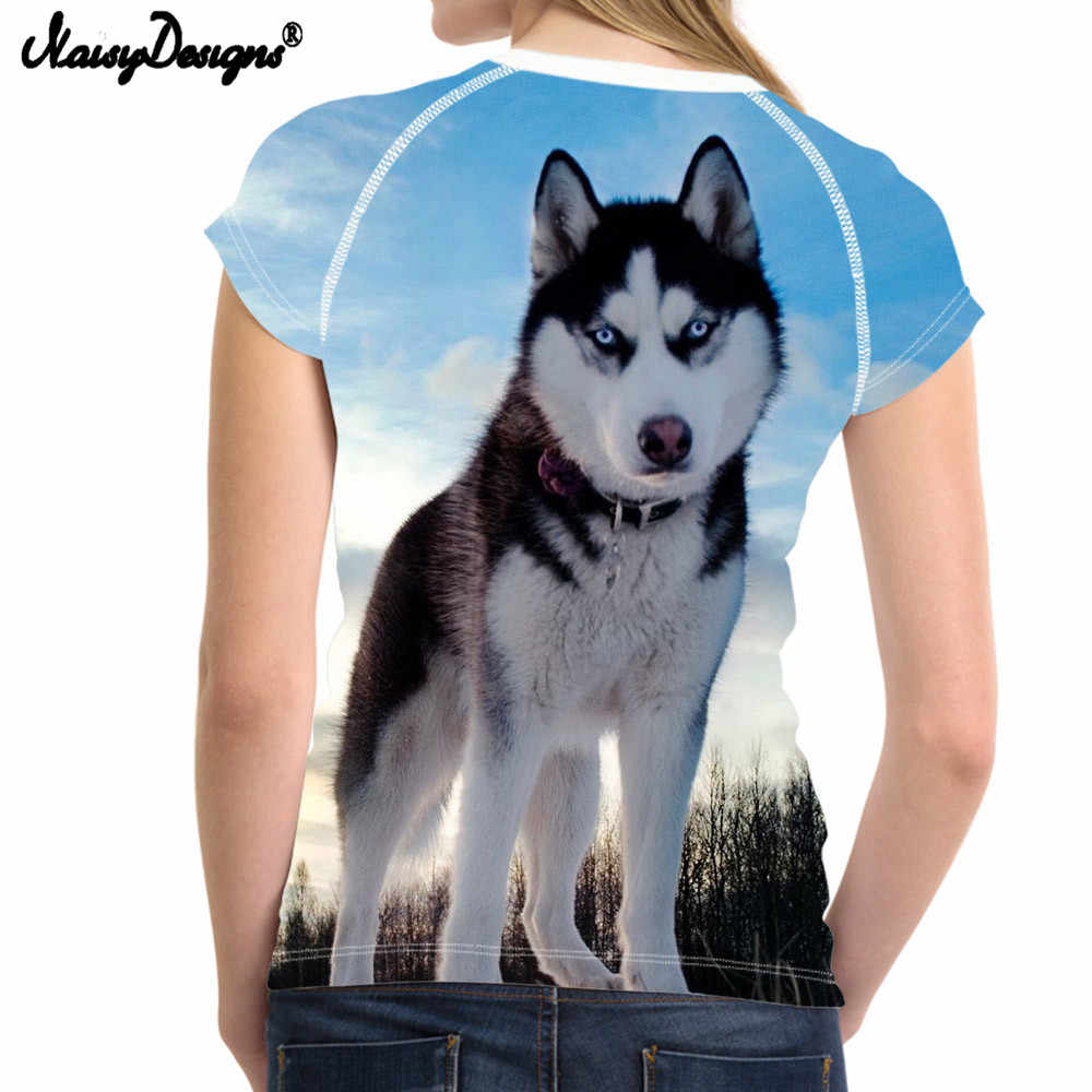 NoisyDesigns Husky tshirt Đối Với Phụ Nữ Chó Tops Vui T-Shirt Mùa Hè Con t áo sơ mi Ladies Thể Hình Tee Top Quần Áo Hawaii