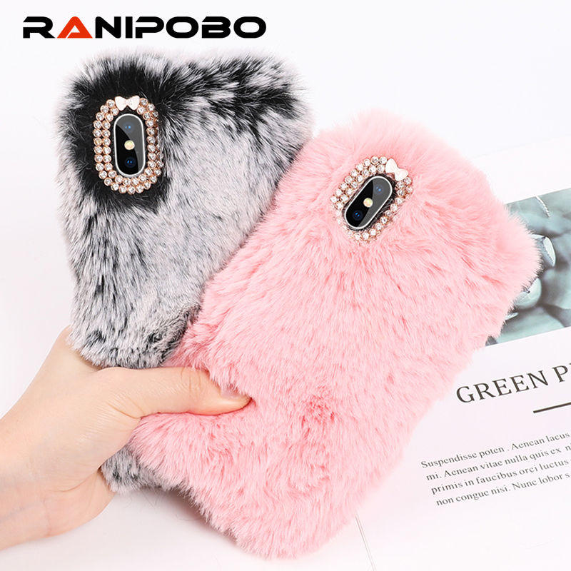 Luxury Warm Rabbit Fur Plush diamond Phone Case For iPhone X 6 6S Plus 7 7Plus 8 Plus Lovely Cute Furry Soft TPU hair Back Cover(China)
