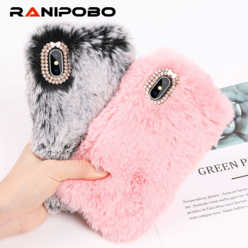 Cute Warm Rabbit Fur Plush diamond Phone Case For iPhone