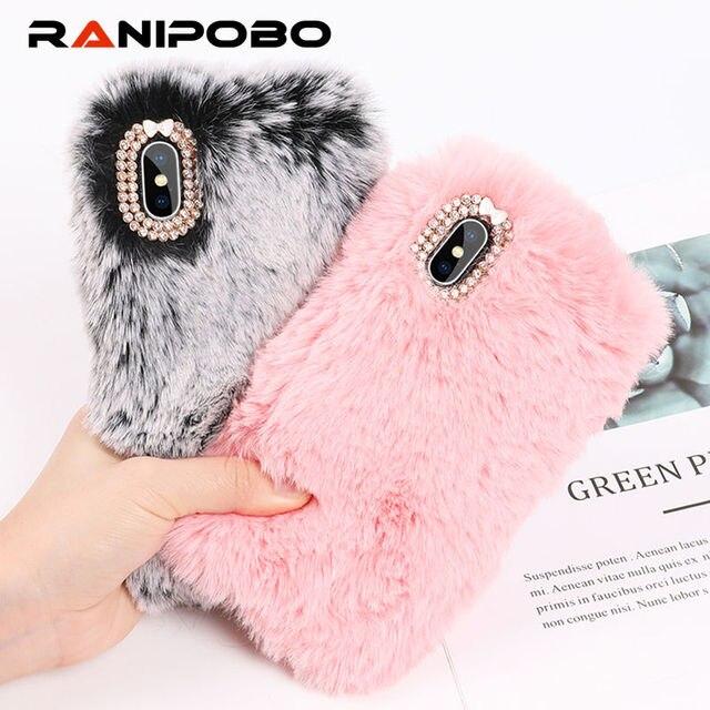Luxury Warm Rabbit Fur Plush diamond Phone Case For iPhone X 6 6S Plus 7 7Plus 8 Plus Lovely Cute Furry Soft TPU hair Back Cover