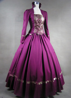 Free Shipping Purple Gothic Victorian Brocade Dress Ball Gown Steampunk Dress Cosplay Dress For Sale