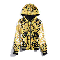European and American women's wear autumn 2019 The new Long sleeve hooded Vintage print jacket