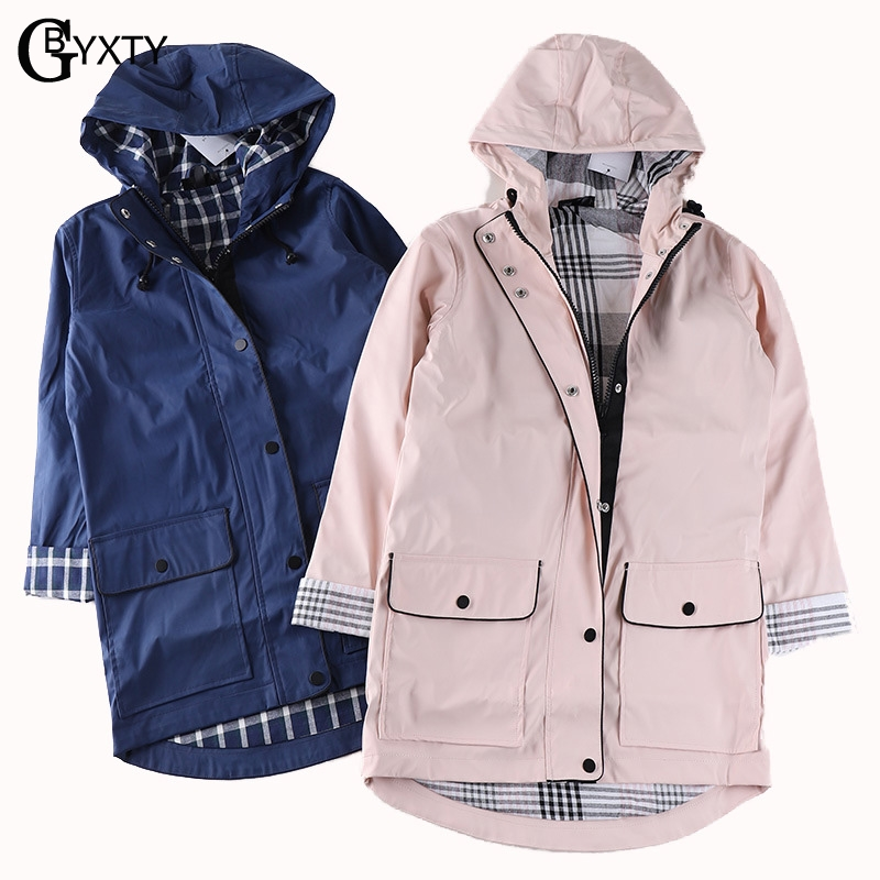GBYXTY Plus Size Waterproof Raincoat Women Casual Hood Loose Long   Trench   Coat Spring Femme Windbreaker   Trench   Mujer 2019 ZA1330