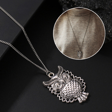 1pc Korean fashion sweater chain ladies boutique accessories retro elegant new owl necklace silver hollow pendant