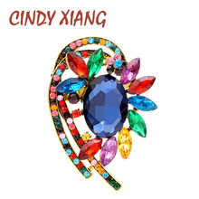 CINDY XIANG 6 Colors Avaible Large Crystal Flower Pins Vintage Elegant Coat Brooches For Women Fashion Brooch Wedding Jewelry cindy xiang purple color crystal flower large brooches for women autumn coat brooch pin elegant beautiful fashion jewelry new