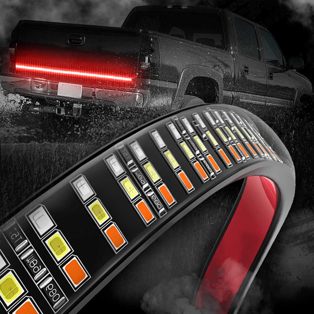 "MICTUNING 60"" Triple Row LED Tailgate Light Bar with Solid Amber Turn Signal, Red Brake/Running, White Reverse Lights"