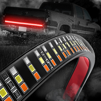 MICTUNING 60 Triple Row LED Tailgate Light Bar with Solid Amber Turn Signal, Red Brake/Running, White Reverse Lights