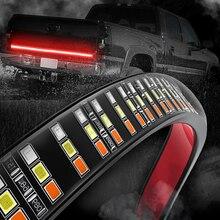 """MICTUNING Barra de luces LED para puerta trasera, 60 """", Triple fila, con señal de giro ámbar, freno rojo, luces de marcha atrás blancas"""
