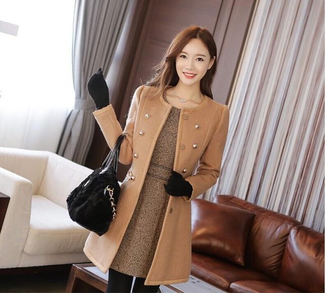 new Long Autumn Winter Coat Women Wool Blends Coats Female Jacket Winter Woman Coat Warm Windbreaker Abrigos Mujer Wool Women 4