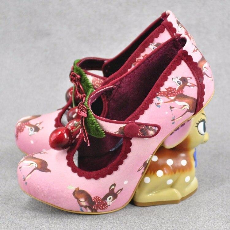 Cute girl buckle strap deer printing leather shoes irregular little deer heel shoes double cherries high heel shoes deer heel
