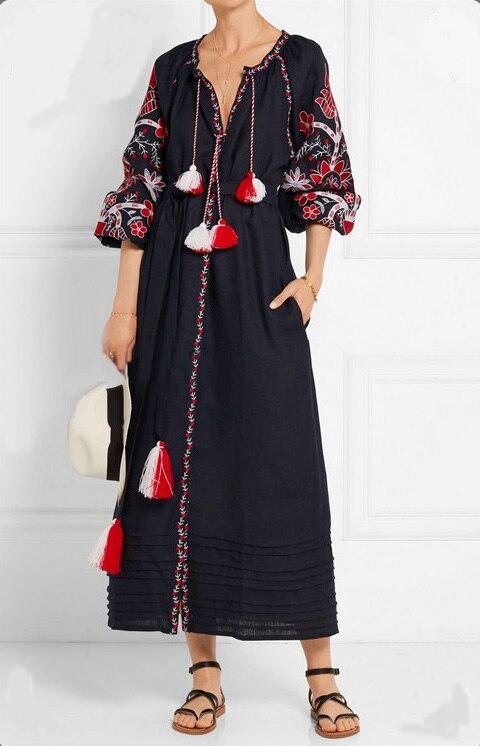 2018 Été Automne Surdimensionné Tunique Dames à manches longues Ethnique Broderie Hippie Boho Personnes robe maxi Longue robe pour femmes Robe