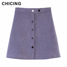 74527ff93d CHICING 2019 Spring Women Suede Multi Color A-Line Mini Skirt Female Empire  Button Printed