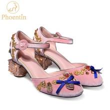 Phoentinブラッククリスタルの結婚式の靴花ハート型の装飾奇妙な金属のかかと蝶結び目バックルパンプス靴FT268