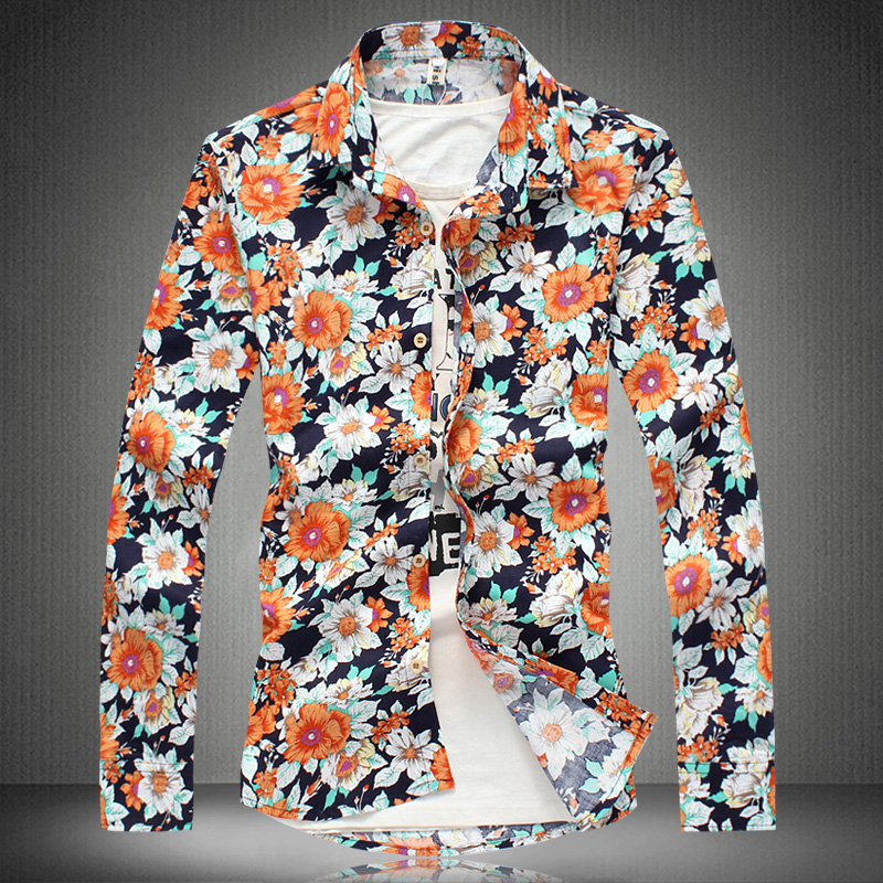 2014 New Flower Pattern Mens Shirts Long Sleeve Shirt Men