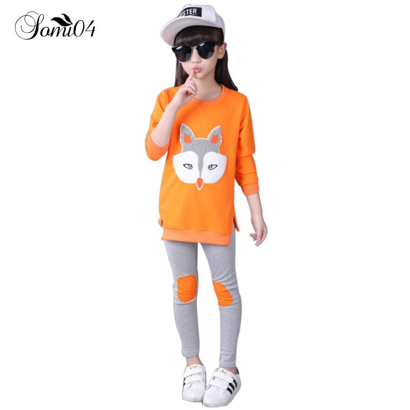 Children Girls Cartoon Casual Clothing Sets 2018 Spring Children T-shirt + Pants Kids Girl Clothes Suits Teen School Tracksuits