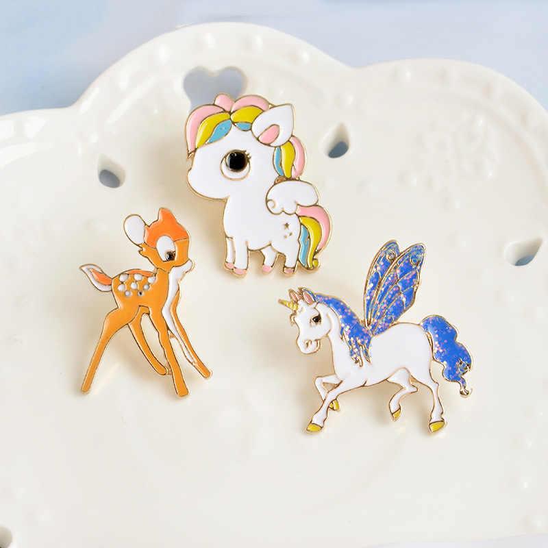 Xedzcute Unicorn Rusa Warna-warni Pony Tetes Minyak Dada Modis Jarum Kaus Kelapak Lencana Kartun Hewan Perhiasan Anak Hadiah Perhiasan