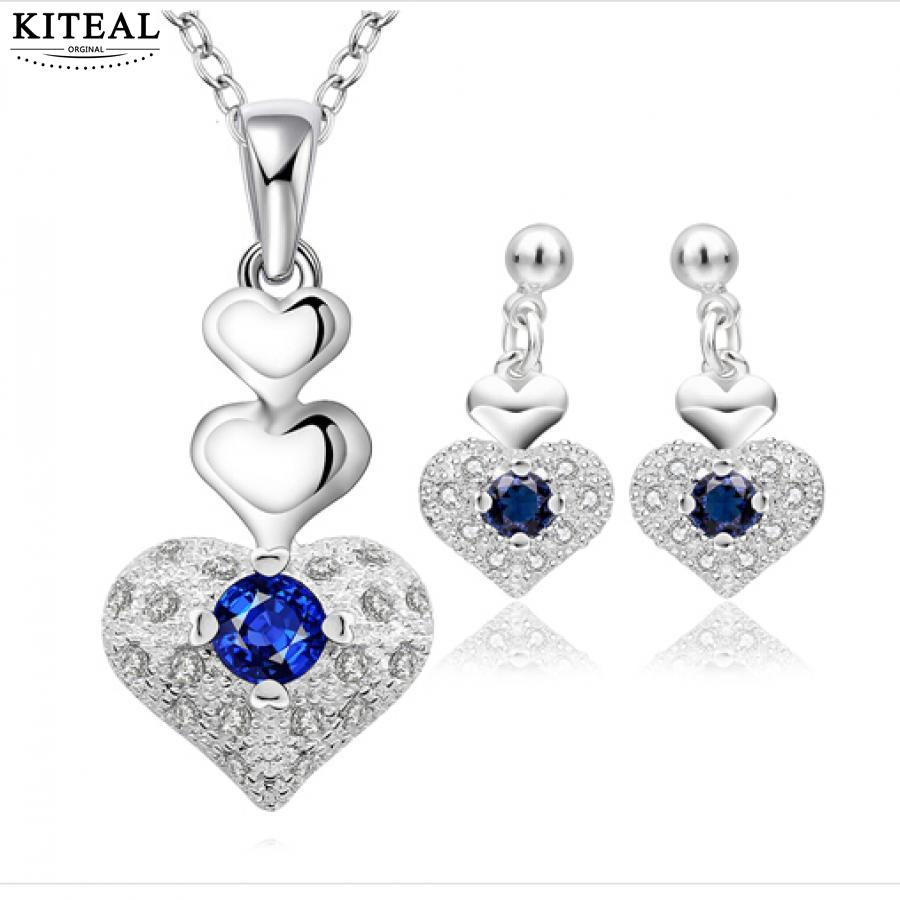 Silver Fashion Jewelry Set Blue Crystal Heart Necklace