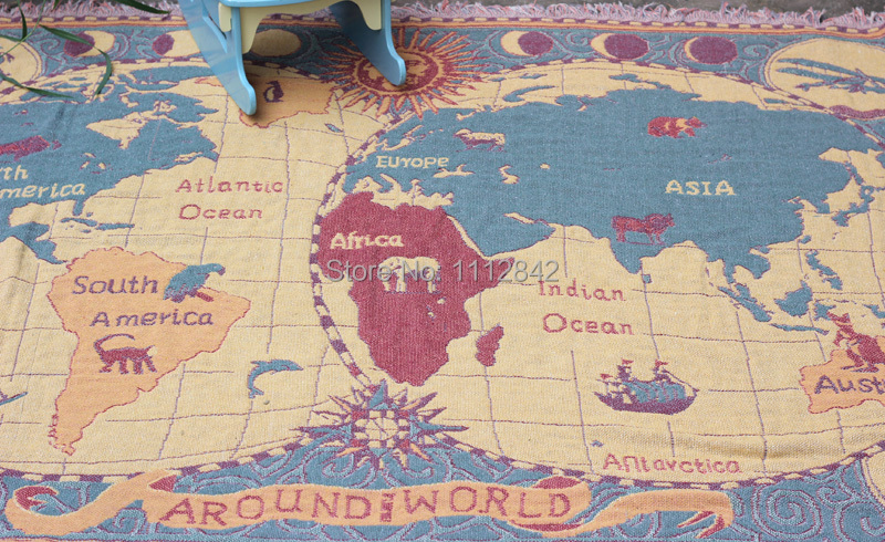 Cm Thread Blanket Retro Cotton Thicken Blankets World Map - World map blanket