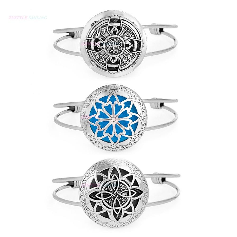 1pcs Round Antique Vintage Aromatherapy Viking Bracelet Charm Lockets Bracelets Perfume Essential Oil Diffuser Bangles Bracelet
