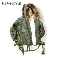 TWOTWINSTYLE Artifical Fur Hooded Winter Jacket Women Parka Coat Female Lace Up Long Sleeve Top Large