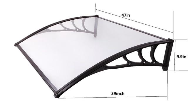 YP100120-ALU 100x120cm 39x47in Aluminum bracket window canopy rain cover