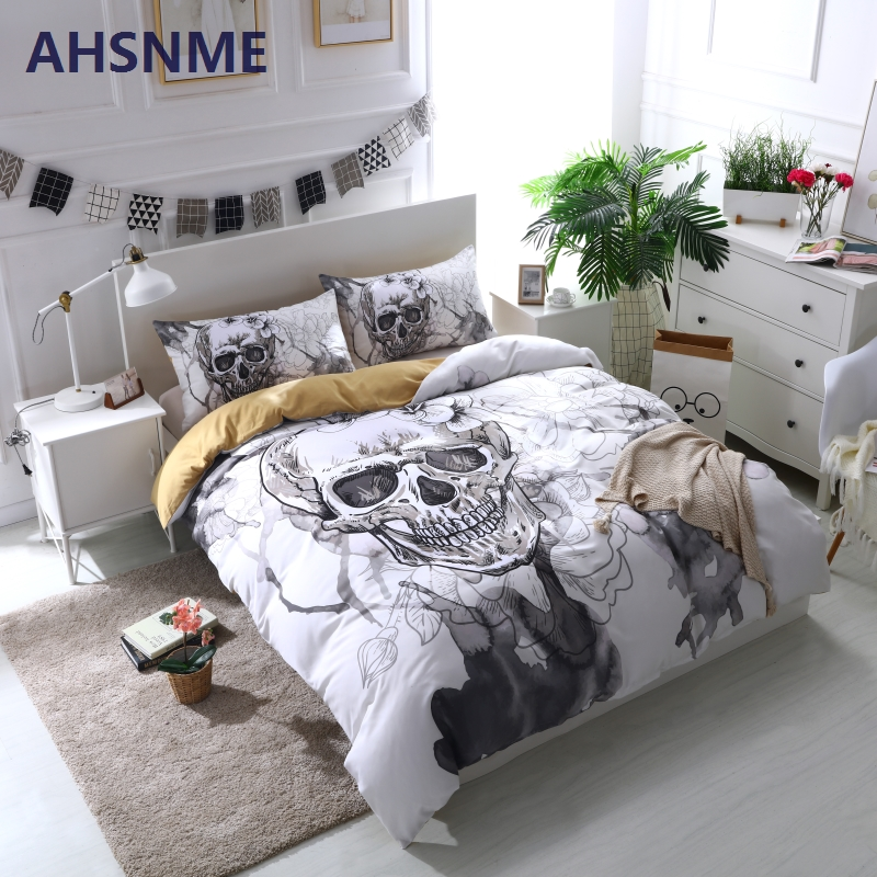 Image 5 - AHSNME Ink Painting Skull Duvet Cover Sets White Floral Bedding  Set Gentle Skeleton Comforter Cover Soft Fabric King Queenduvet cover  setbedding setfloral bedding sets