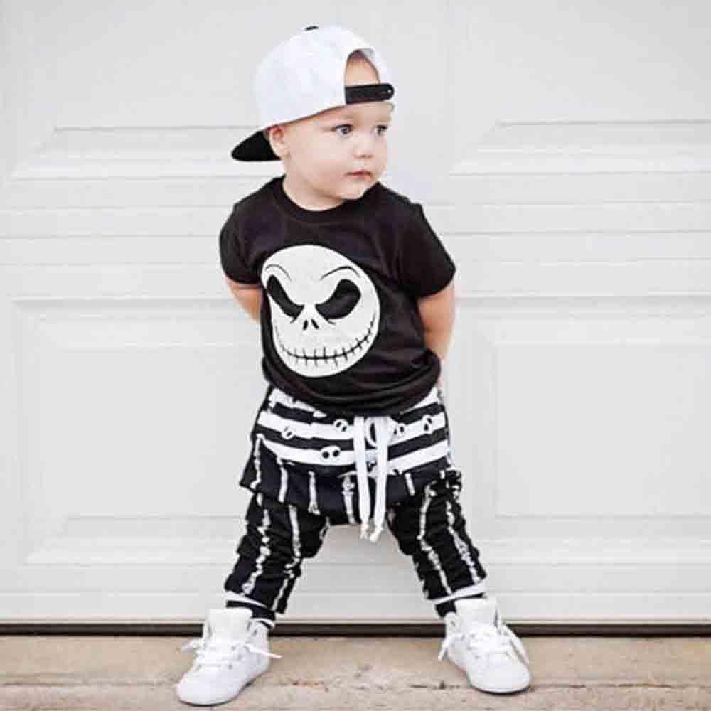 Baby Boy Girl Clothes 2PCS Grimace Print Top +Pants Set Short Sleeve Summer Newborn Set Baby Clothes 18Sep13