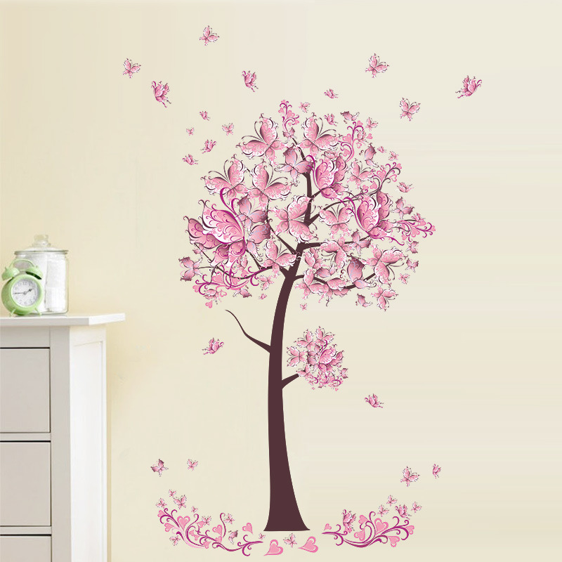 0b6c5f0147 Sweet Flower Butterflies Tree Wall Stickers Living Room Bedroom TV Sofa  Background Home Decor Wall Decals Mural Decal Pink-in Wall Stickers from  Home ...