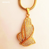 2017 New Style Hip Hop Jewelry Full Crystal Pray Hand Pendant Long Link Chain Stainless Steel