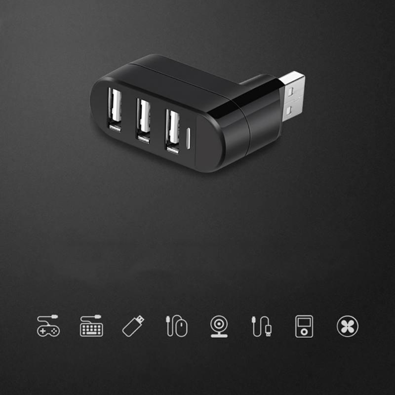 Universal 180 Degree Rotate Hi-Speed USB2.0 HUB Mini 3 Port Splitter Hub Adapter For PC Computer For Portable Hard Drives Hot