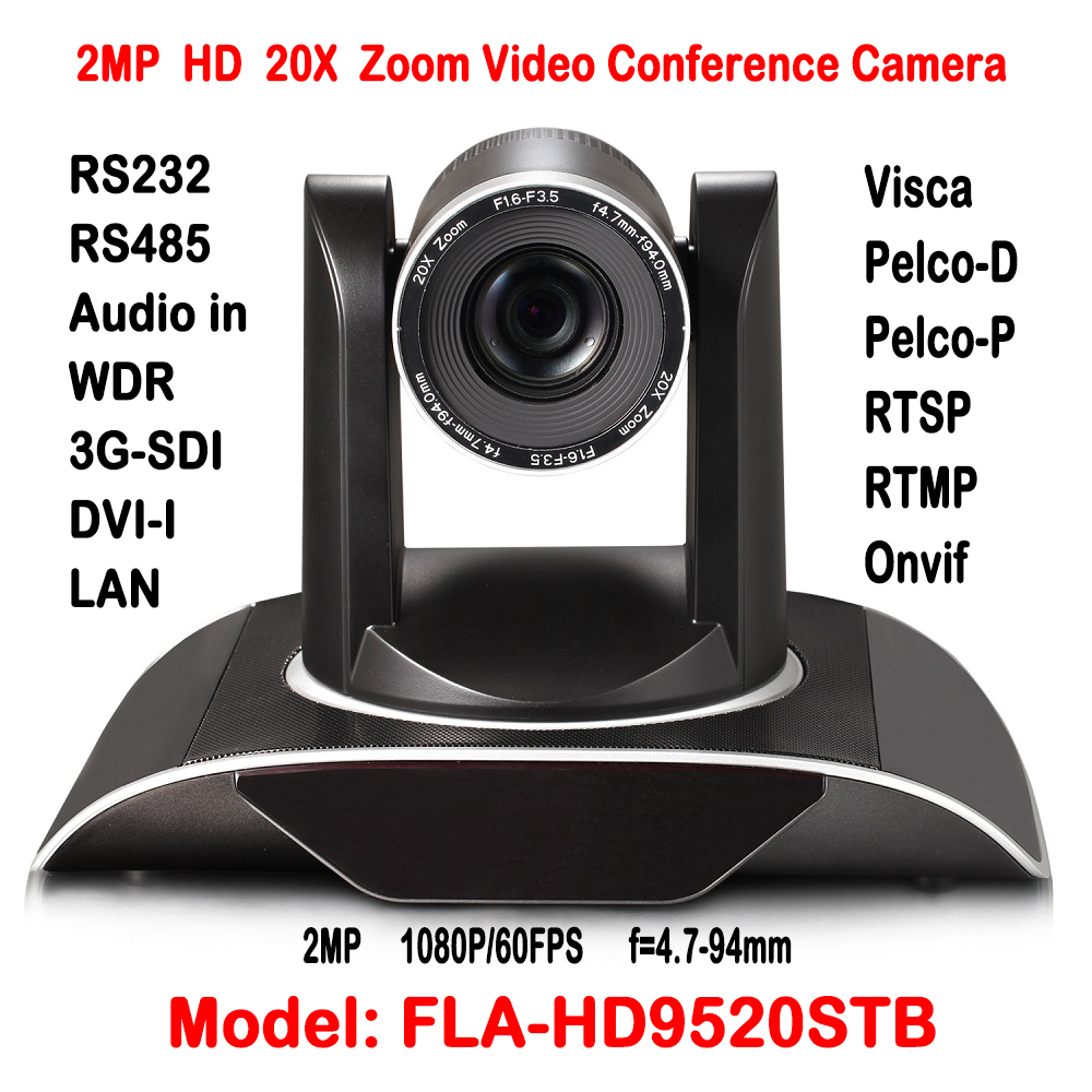 1080P 2.0Megapixel 20X Optical Zoom Video Conference HD PTZ Camera With Lan IP/HD-SDI/DVI Interface Onvif RTSP Dual stream H.265 rs232 to rs485 converter with optical isolation passive interface protection
