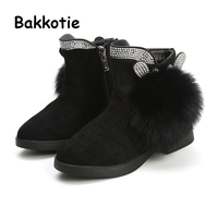 Bakkotie 2019 New Winter Fashion Toddler Bunny Boots Baby Girl Warm Casual Shoes Children Fur Shoes Rhinestone Brand Trainer