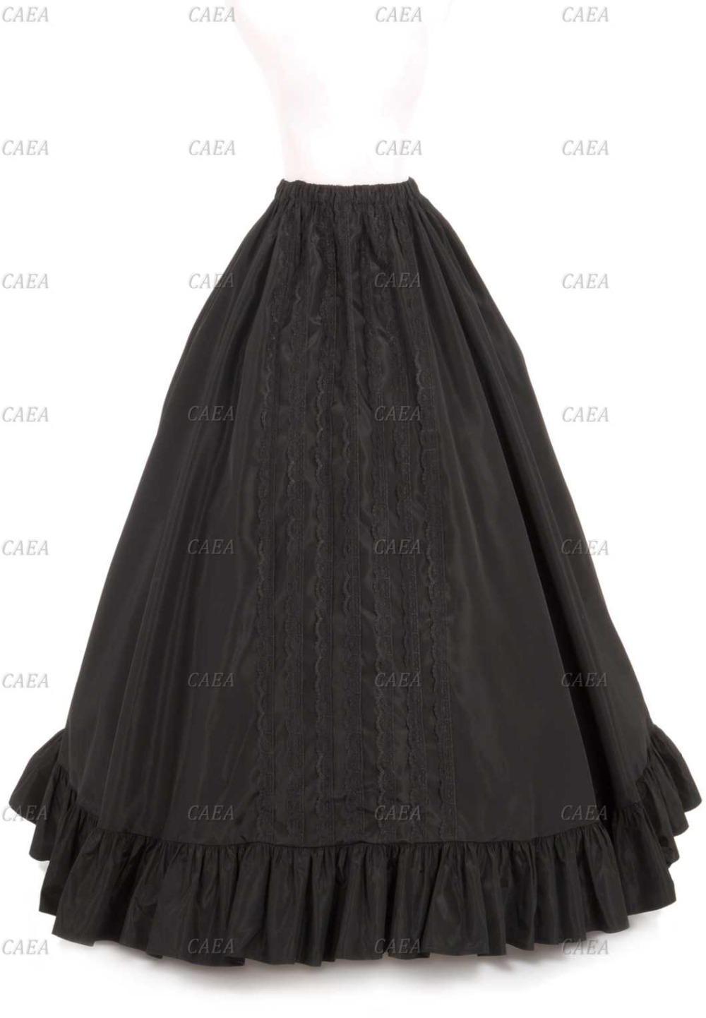 Ruffled Black Satin Vintage Styled Skirt Victorian Floor-Length Skirt Custom Make Plus Size
