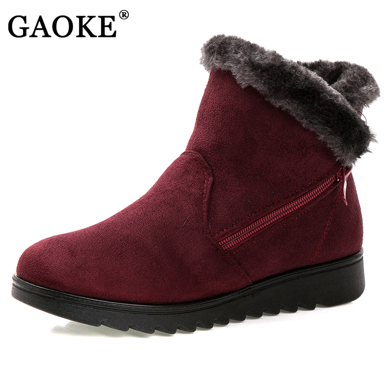 GAOKE women winter shoes women's ankle boots the new 3 color fashion casual fashion flat warm woman snow boots free shipping
