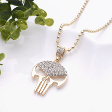 Hip Hop Gold Plated Skeleton Necklace Skull Pendant Mens Bling Bling Chains for Men Alloy Big Necklace Rock Music Chunky