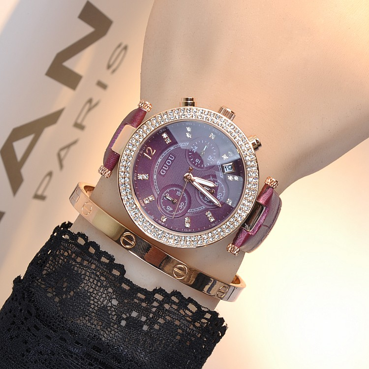 Women Famous Brand Luxury Full Crystal Rose Gold Steel Women Watch Charm Leather Band Dress Watch Rhinestone Bangle Bracelet
