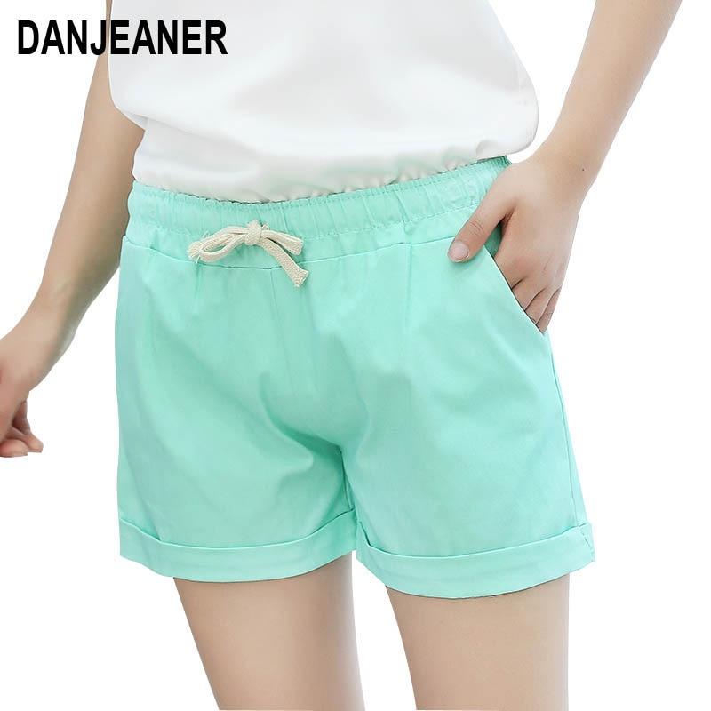 DANJEANER Boho   Shorts   2018 Hot Summer Fashion Women Drawstring Cotton   Shorts   Casual Elastic Waist Solid Slim   Short   Feminio