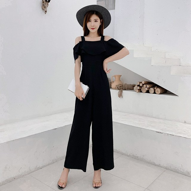 Women Rompers Summer Long Pants Elegant Strap Woman Jumpsuits Casual 2019 Polka Dot Jumpsuit Off Shoulder Overalls