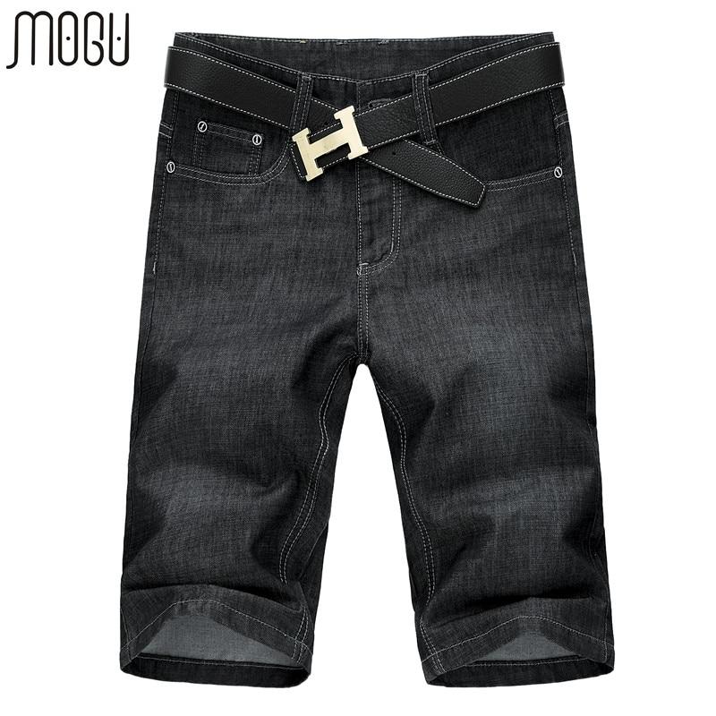 MOGU ծնկի երկարության շորտեր Տղամարդկանց նորաձևություն միջին գոտի կարճ ջինսե տղամարդկանց համար 2017 ամառային նոր դինիմե շորտեր տղամարդու Plus չափի տղամարդկանց շորտեր