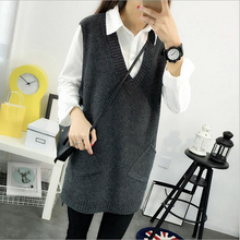 2016 New Spring autumn Casual Women's Sweater vest 4 color Cotton knit loose sweaters V-Neck sleeveless pocket Sweater vest