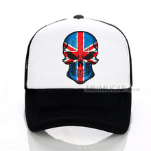 Fashion Summer British flag skull trucker cap Men Women Baseball caps Style Brand New Male Mesh hat
