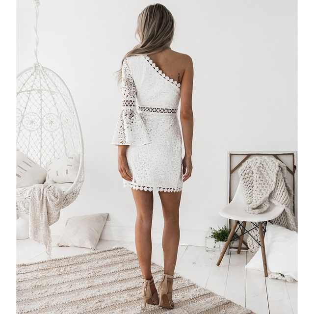 Hollow Out Dress Women Elegant White Lace Dress One Shoulder Flare Party Dress