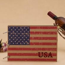 Творческий фотоальбом деревянной крышкой DIY альбом Америка Франция Канада Флаг Англии Скрапбукинг ручной путешествия записки 10 дюймов