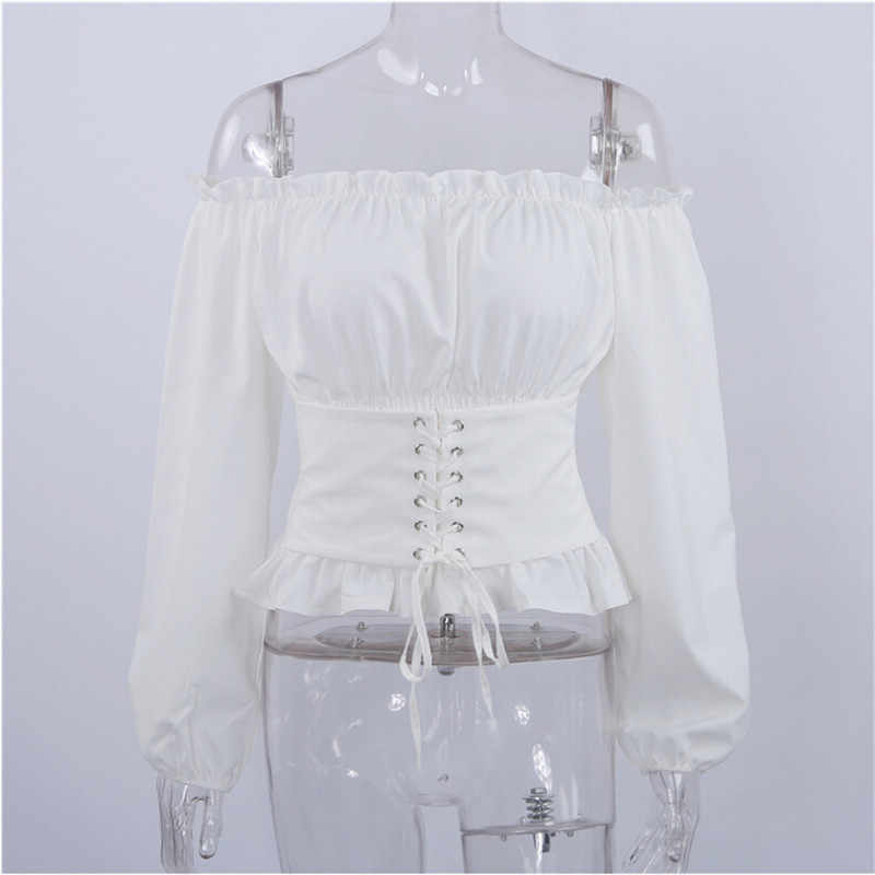 cbf4ee9aac ... High Street Womens Tops and Blouses Lace up Satin Corset Blouse Lantern  Sleeve Women Off Shoulder ...