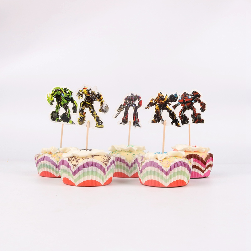 24pcs Lot Transformers Cupcake Toppers Picks Birthday Party Decoration Kids Shower Boy Favors Cake Decorating In Supplies From Home Garden