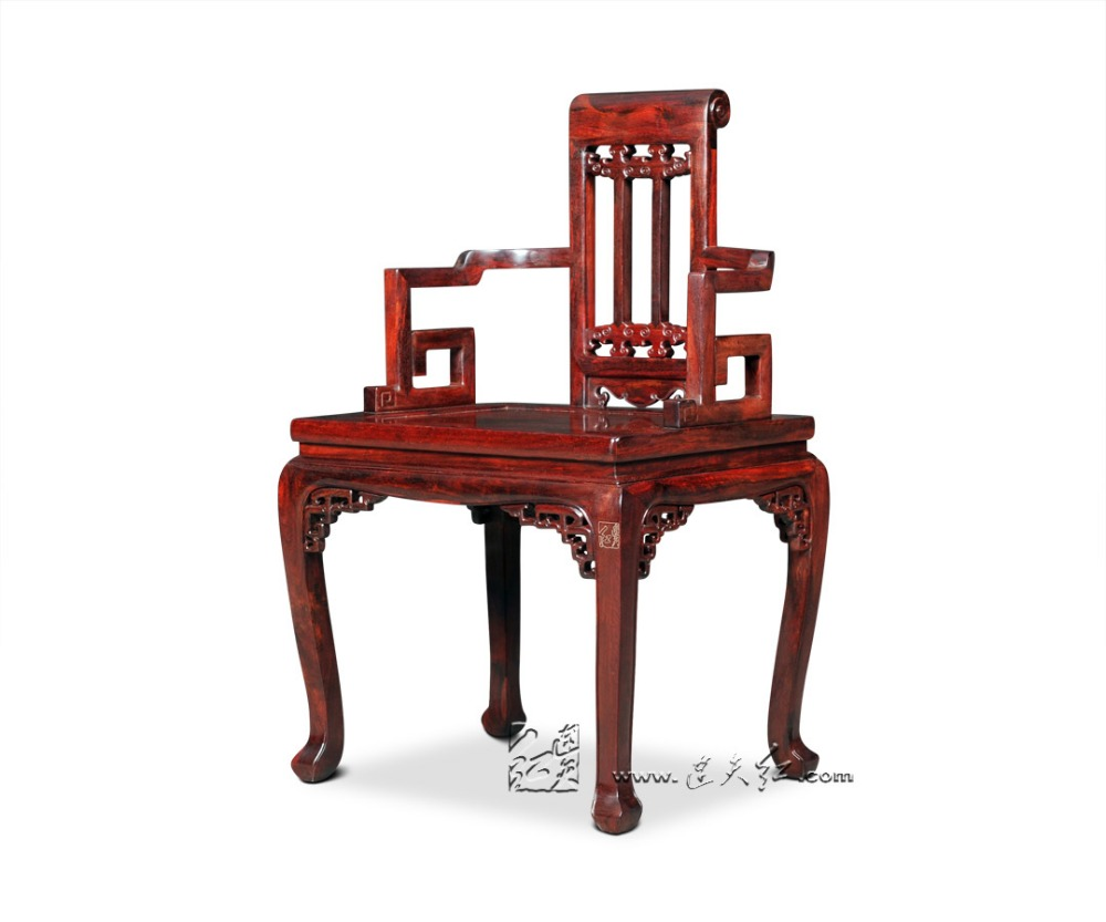 Fauteuil Solid Wood Chinese Classical Retro Rosewood Backed Chair Annatto  Armchair Redwood Home Living Dining Room Furniture Set