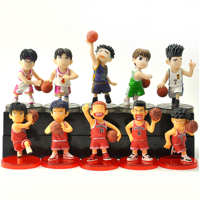 5 Pcs/set Japan Anime Slam Dunk Action Figures Toys 7cm Basketball Sakuragi Hanamichi PVC dolls collection toys gift 9pcs set kuroko no basket q version figures with basketball 7cm japan anime pvc action figures kids hot toys for children boys