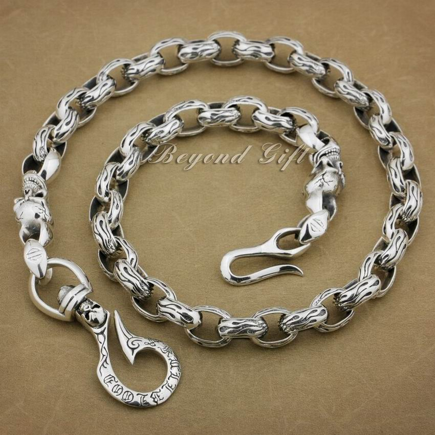925 Sterling Silver Huge Heavy Hook Belt Clip Mens Biker Rocker Punk Wallet Chain 8K002WC Length 14″~32″