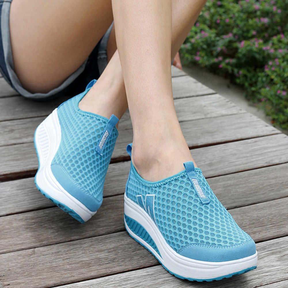 Nefes sneakersen Rahat Moda Kadın platform ayakkabılar oafers Nefes Hava Mesh Salıncak Takozlar Shoeer # NFA