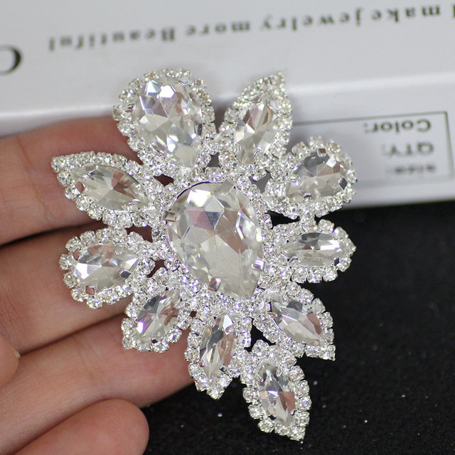5.8 4.5cm White Crystal rhinestone applique Silver Base Belt Applique Sew  on Rhinestone For Party Wedding Dress Fake Decoration 7c511d3b5588